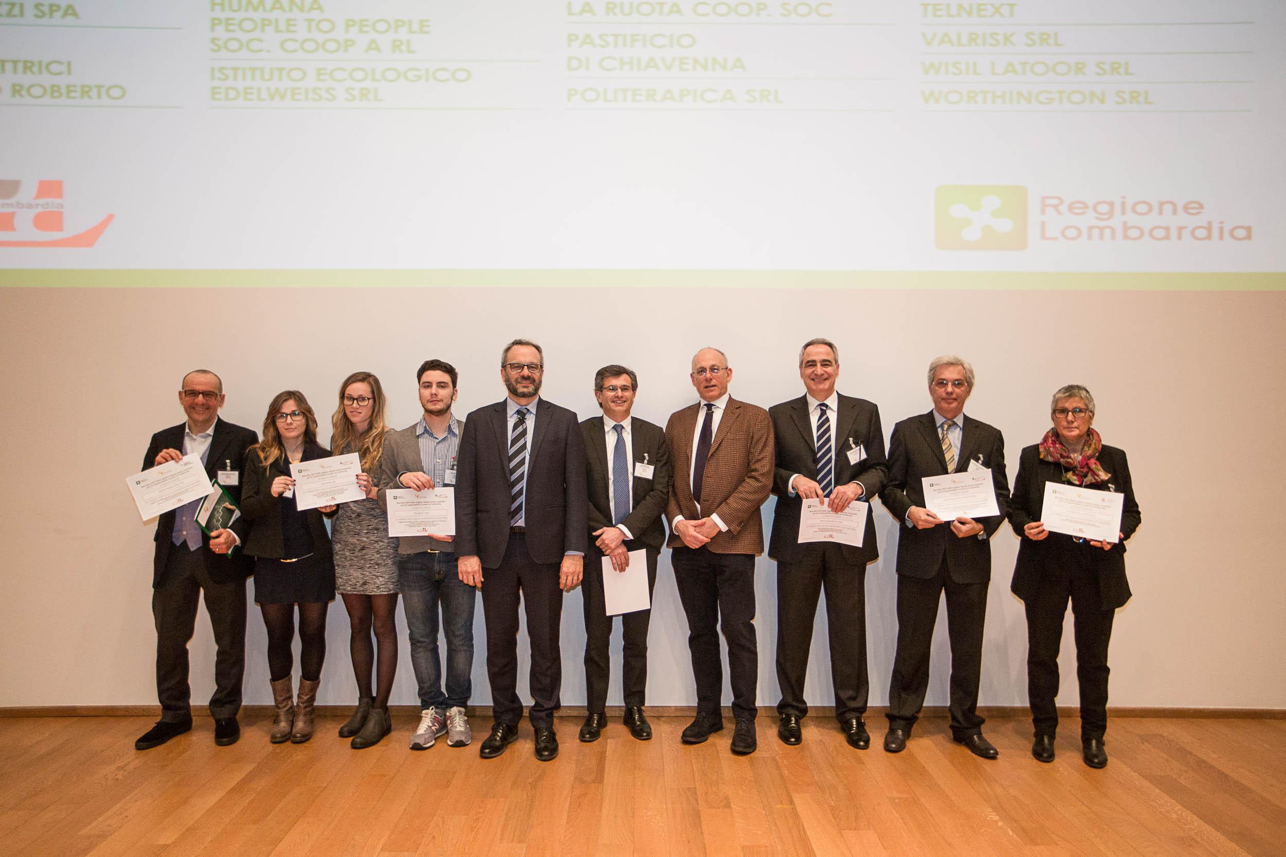 Buone prassi 2015 - Premiazione 17 Febbraio 2016 - Alcune aziende premiate per servizi alla comunità