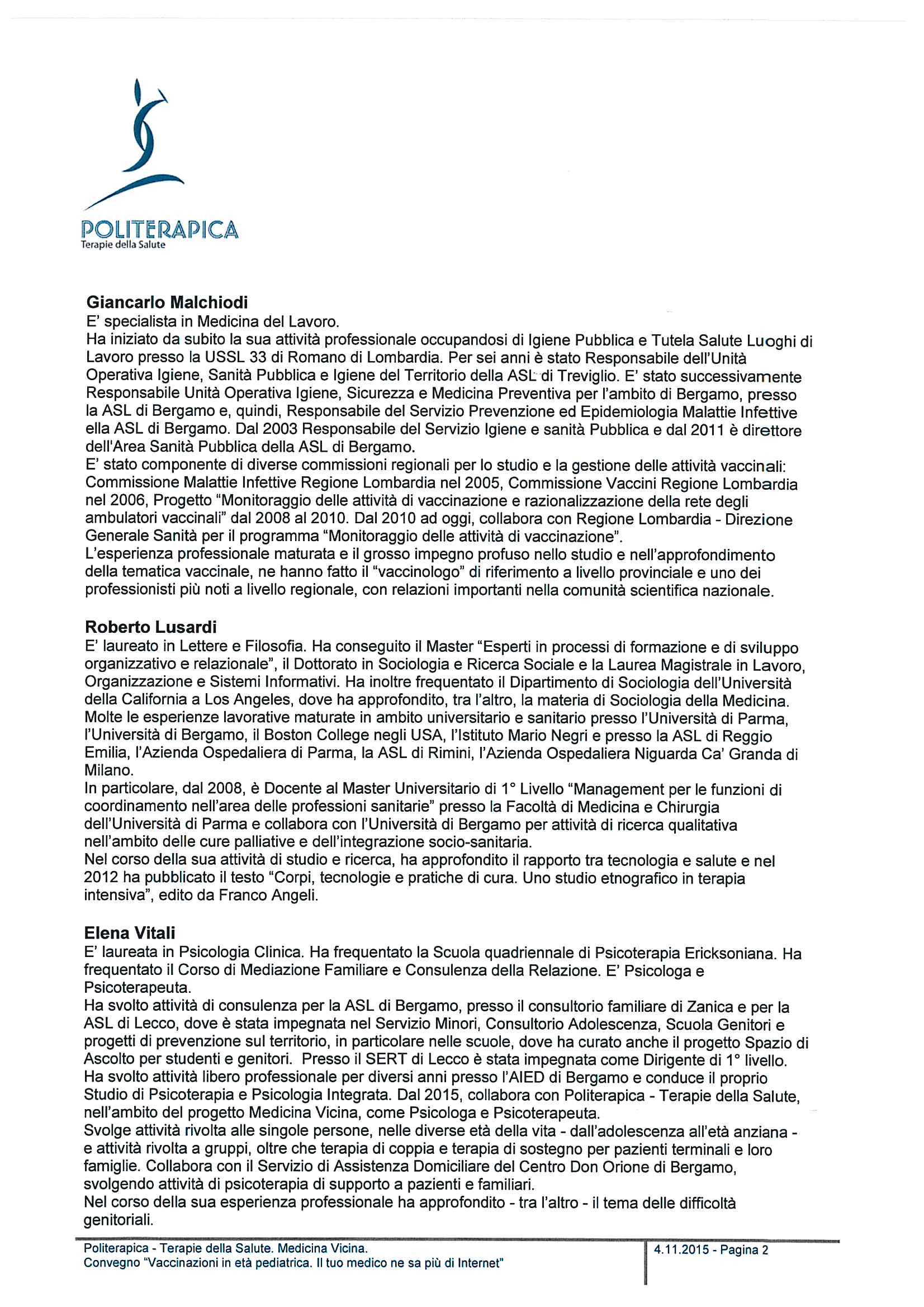 Convegno - Vaccinazioni in età pediatrica - Profilo relatori - 15.11.12 - 2