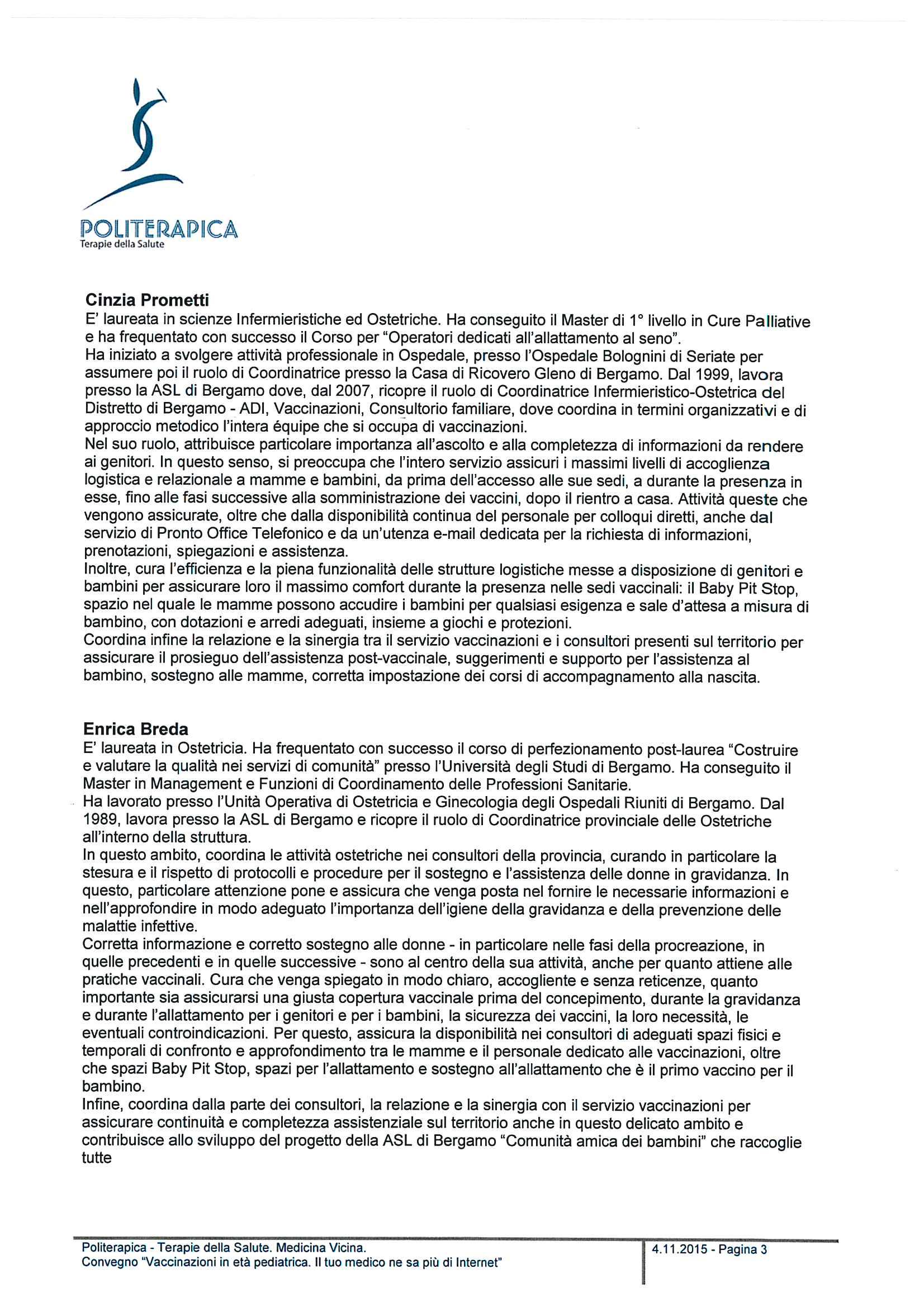 Convegno - Vaccinazioni in età pediatrica - Profilo relatori - 15.11.12 - 3