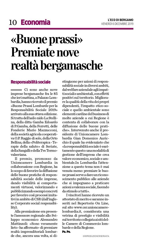 L'Eco di Bergamo - 06.12.2019 - Buone Prassi 2019