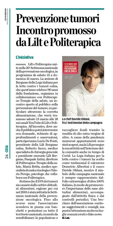 L'Eco di Bergamo - 10.3.2021 - Politerapica e LILT insieme