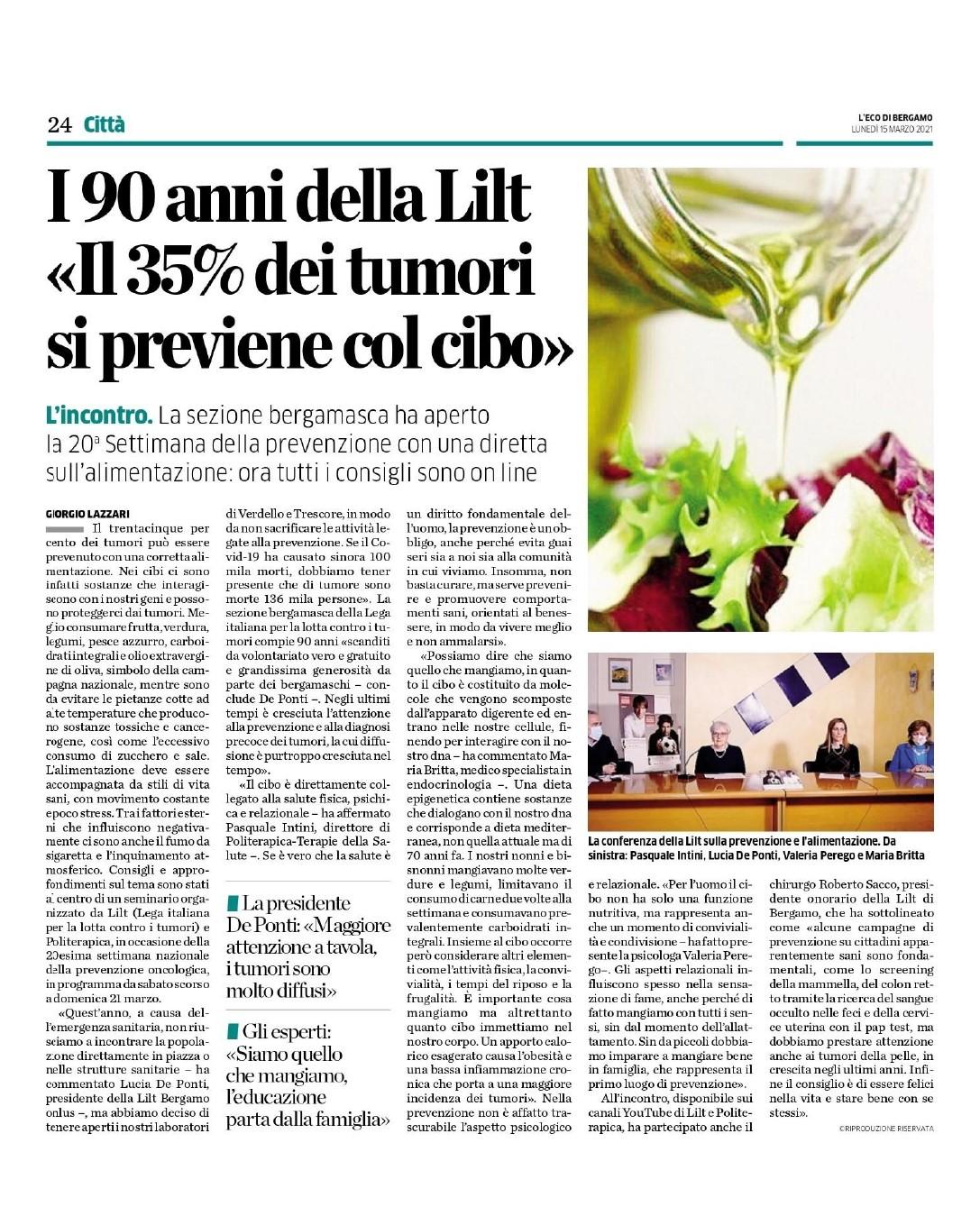 L'Eco di Bergamo - 15.3.2021 - Conferenza LILT e Politerapica