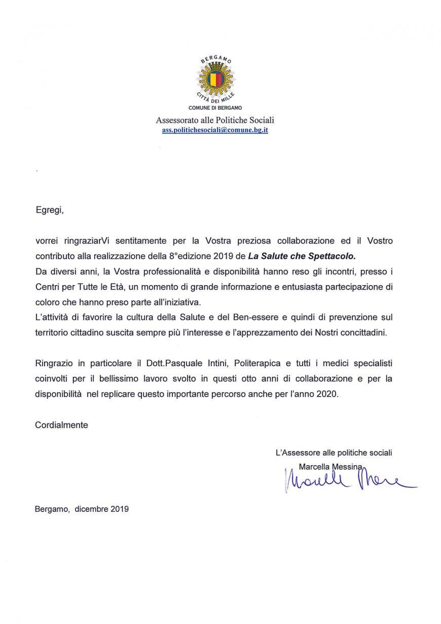 Il Comune di Bergamo ringrazia Politerapica