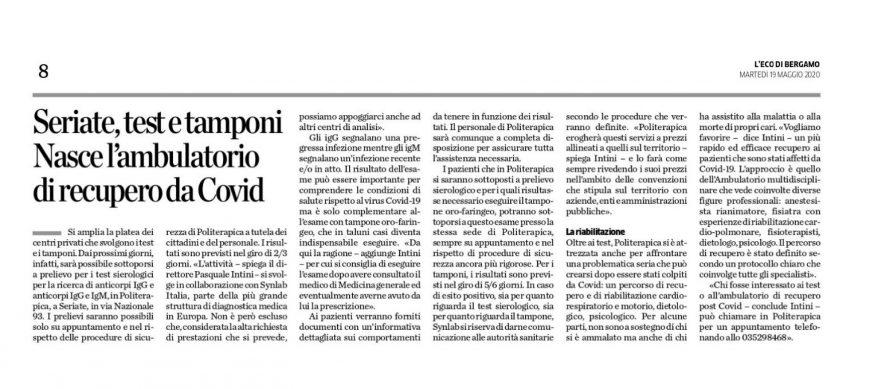 Politerapica contro Covid su Eco di Bergamo